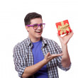 A man with present box, white background. - Stock Photo