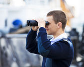 Boatswain near the boat — Stock Photo