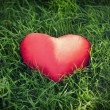 Closeup of a red heart on the grass — Stock Photo
