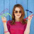 Style girl with glasses — Stockfoto