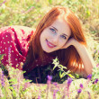 Redhead girl at green grass at village outdoor — Stock Photo #26089895