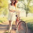 Girl on a bike in the countryside. — Stock Photo #26169343