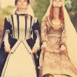 Two medieval ladys at outdoor — Stock Photo #26311061
