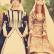 Two medieval ladys at outdoor — Stock Photo