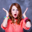Surprised redhead girl — Stock Photo