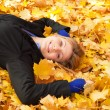 Smiling happy girl in autumn park. — Stock Photo #27349753