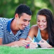 Young students sitting on green grass with note book. — Stock Photo #28005073