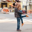 Young teen couple on the street — Stock Photo