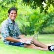 Student with laptop at green grass — Stock Photo #28900697