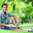 Student with laptop at green grass — Stock Photo #28900699