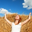 Redhead girl lying down on hay — Stock Photo #29280861
