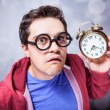 Stock Photo: Mad man with clock