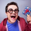 Crazy man with gift.  — Stock Photo
