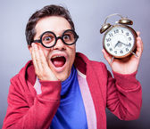 Mad man with clock — Stock Photo