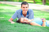 Young teen couple at outdoor — Stock Photo