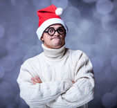 Surprised guy with glasses and hat — Stock Photo