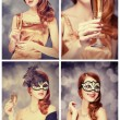 Collage of redhead girl in mask — Stock Photo