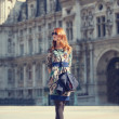Style girl near retro building in Paris — Stock Photo