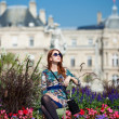 Redhead girl near Luxembourg Palace — Stock Photo