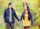 Ten couple at the park in autumn time — Stock Photo