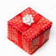 Red gift box white background. — Stock Photo
