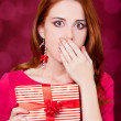 Stock Photo: Womportrait hold christmas gift