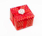 Red gift box white background. — Stock Photo