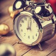 Stock Photo: Vintage clock on christmas background