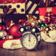 Vintage clock on christmas background — Stock Photo #35513729
