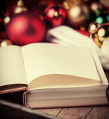 Book and christmas gifts — Stock Photo