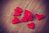 Red chocolate hearts — Stock Photo