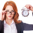 Redhead girl with clock  — Foto de Stock