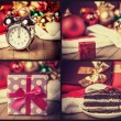 Vintage collage with clock, gift and cake. — Stock Photo