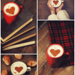 Collage of photos with cup and shape heart. — Stock Photo