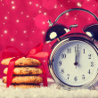Vintage clock and cookies  — Stock Photo
