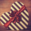 Valentines Day's gift on wooden background. — Zdjęcie stockowe
