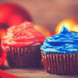 Cream cake and gifts on background. — Stock Photo