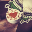 Cup with coffee and scarf. — Stok fotoğraf