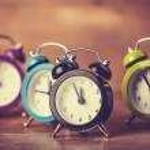 Retro alarm clocks on a table. — Stock Photo #38249459