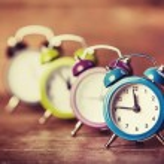 Retro alarm clocks on a table. — Stock Photo #38249461