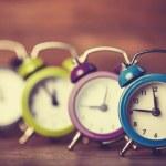 Retro alarm clocks on a table. — Stock Photo #38249465