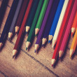 Color pencils. Photo in vintage color image style. — Stock Photo