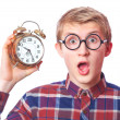 Nerd guy with alarm clock. — Stock Photo #40496217
