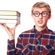 Stock Photo: Nerd guy with books