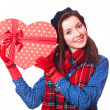 Gift with heart shape gift. — Stock Photo #40496245