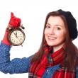 Brunette teen gift with alarm-clock. — Стоковое фото