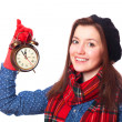Brunette teen gift with alarm-clock. — Stockfoto