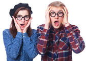 Nerd teen couple in glasses — Stock Photo