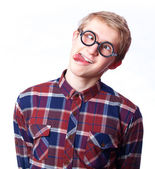 Young teen boy in nerd glasses. — Stock Photo