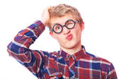 Young teen boy in nerd glasses. — Stock Photo